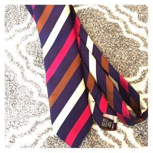 Thomas Pink Silk Stripe Tie
